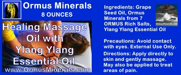 Ormus Minerals Healing Massage Oil With Ylang Ylang Essential Oil 8 oz
