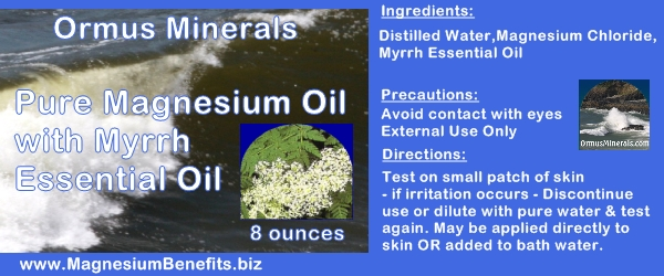 Ormus Minerals PURE Magnesium Oil with Myrrh Oil