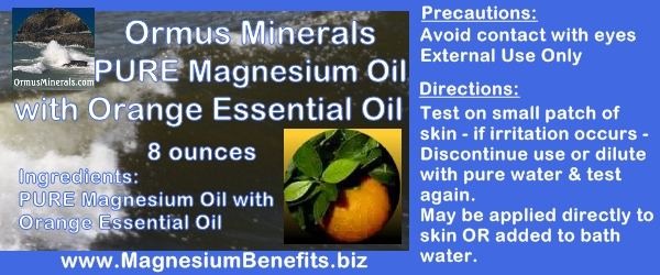 Ormus Minerals PURE MAGNESIUM OIL with Orange Essential Oil